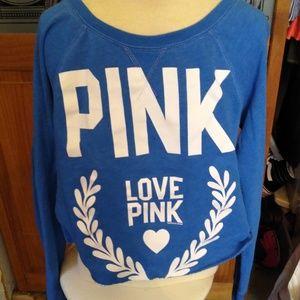 Pink sweatshirt cut crop top